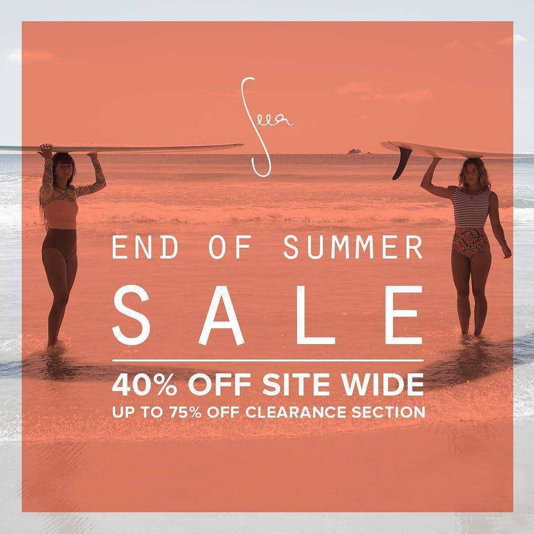 End of Summer Sale is live now! 40% Off Site Wide. Up to 75% Off Clearance Section. *All Sales Final. Excluding neoprene. Prices as marked. Cannot be combined with any additional offers. Sale prices valid Sept. 1-4, 2016. Go to theseea.com to shop!