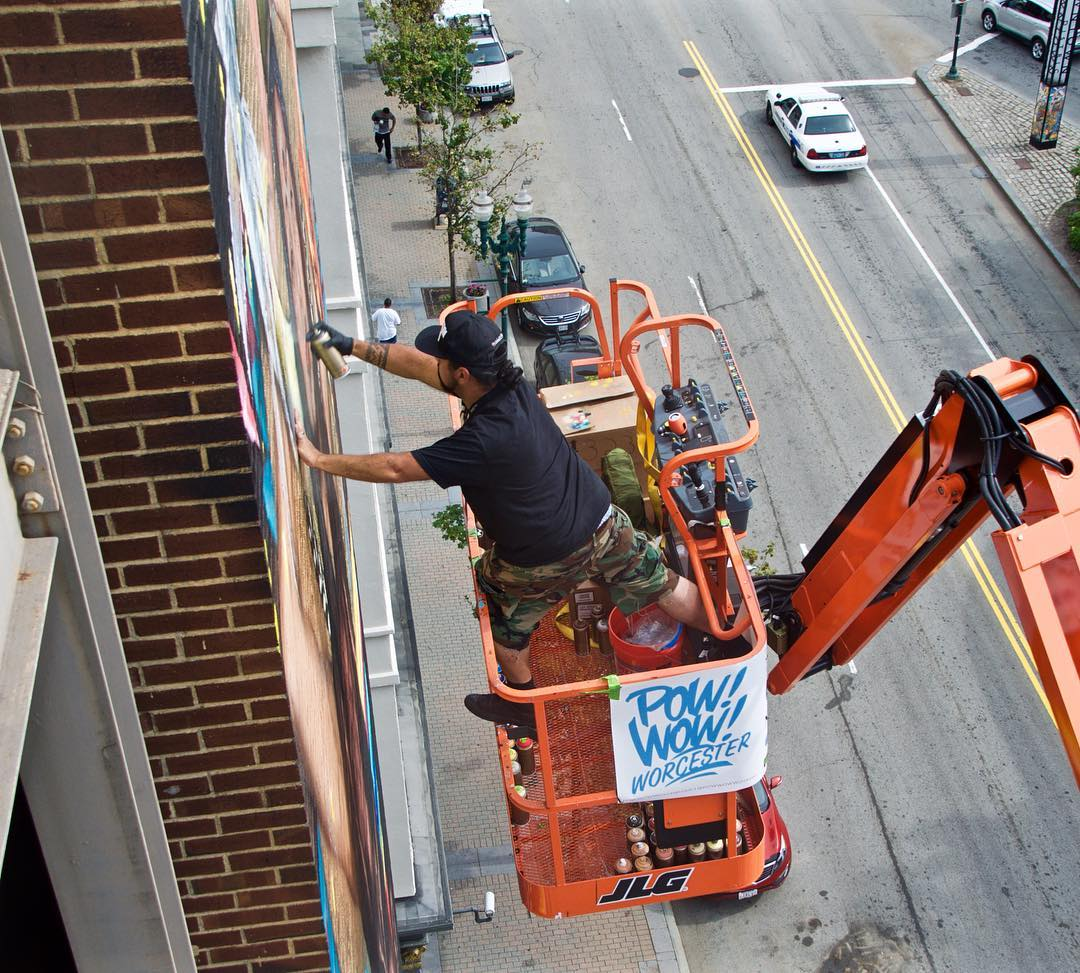 @marka_27 working on his mural at @powwowworcester! • SprATX is proud to sponsor along side: @powwowworldwide @1xrun @monsterenergy @actionwoo @worcesterwares @worcestermagazine @thegriddistrict @homedepot @niche_hospitality @vivaelche @montanacans...