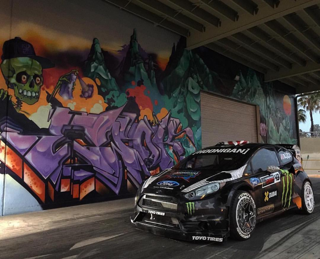HHIC @kblock43's Fiesta RX43 stuntin on the dock of the #donutgarage.
