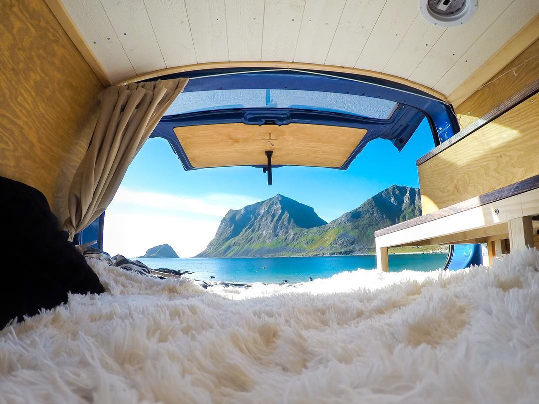 "Featured Photographer + #GoProGirl @emmadahlstrom_ ""For a long time, a dream of mine has been to build a rolling home. This summer my BF and I realized that dream by building Buster. One of our first stops was #HauklandBeach in #Lofoten, #Norway"