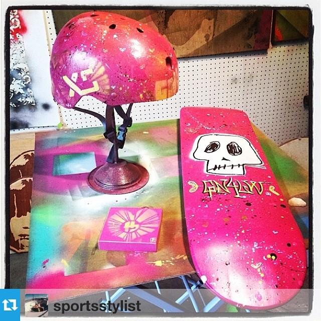 Custom helmet for @sportsstylist by artist @iam1k34 #oneofakind #xshelmets #skatergirl #skate