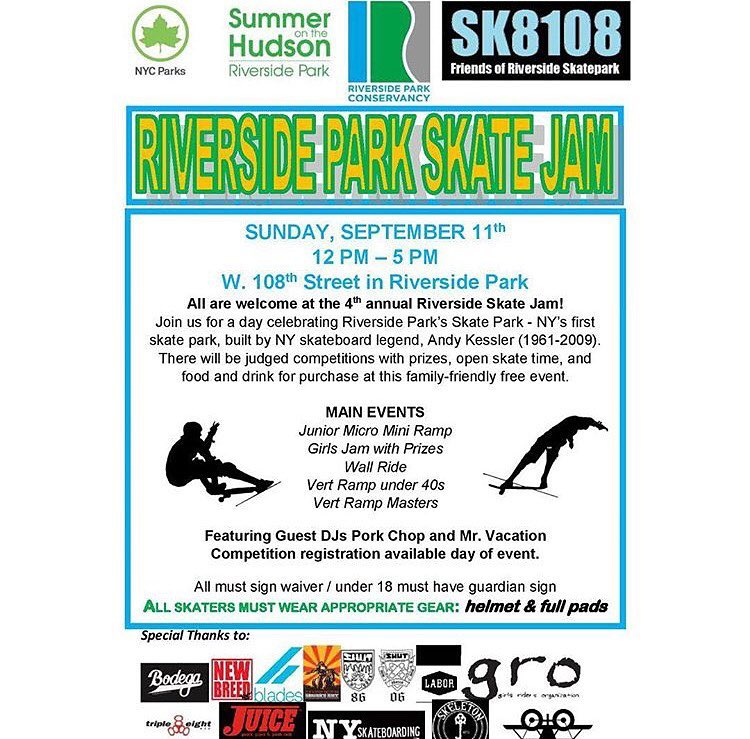 Riverside Skate Jam is coming up next weekend!! Make sure to sign up-there are contests for all ages and abilities