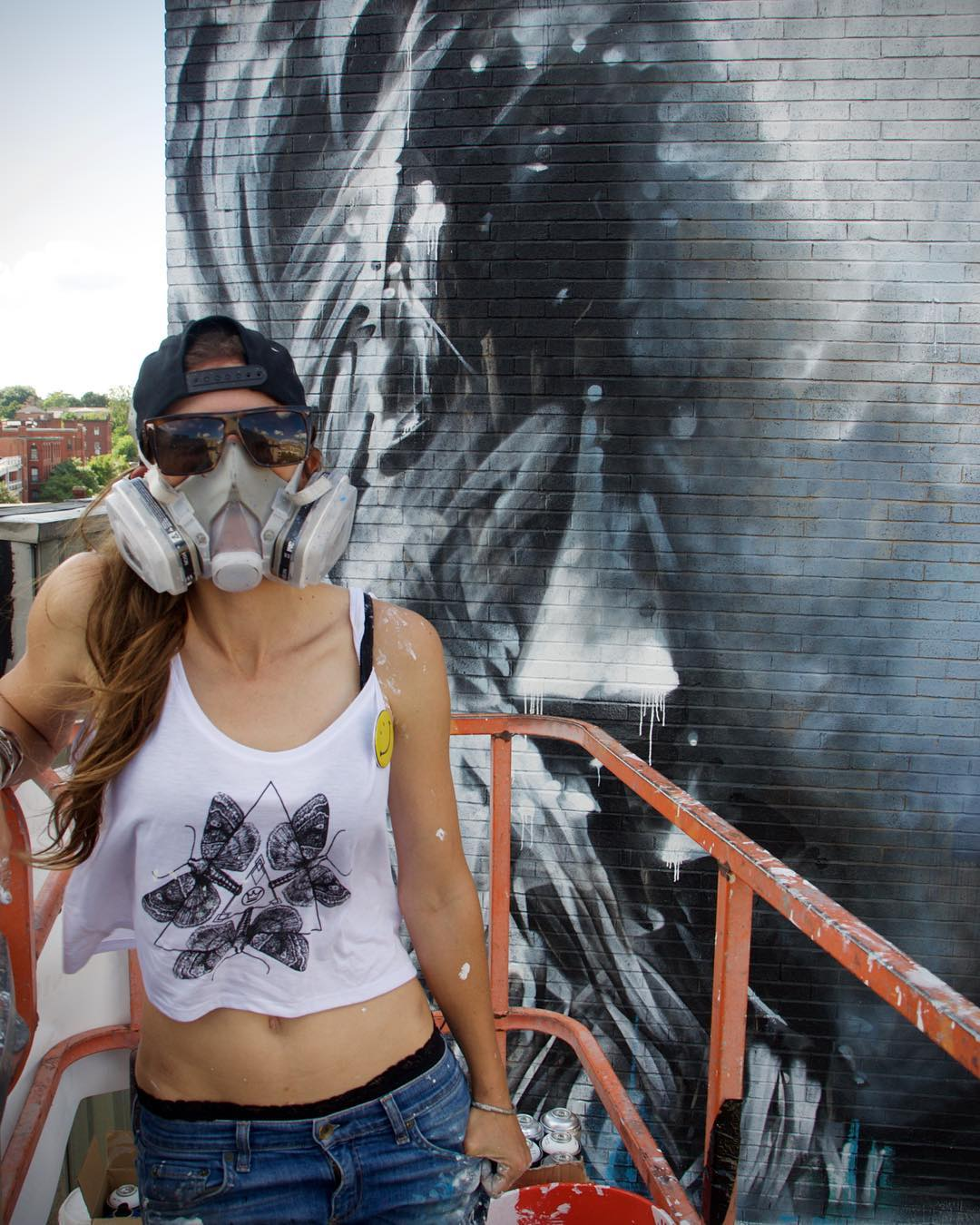 The talented @starfightera adding the finishing touches on her mural for @powwowworcester in her new SprATX 'Evolution' crop tank! • SprATX is proud to sponsor along side: @powwowworldwide @1xrun @monsterenergy @actionwoo @worcesterwares...