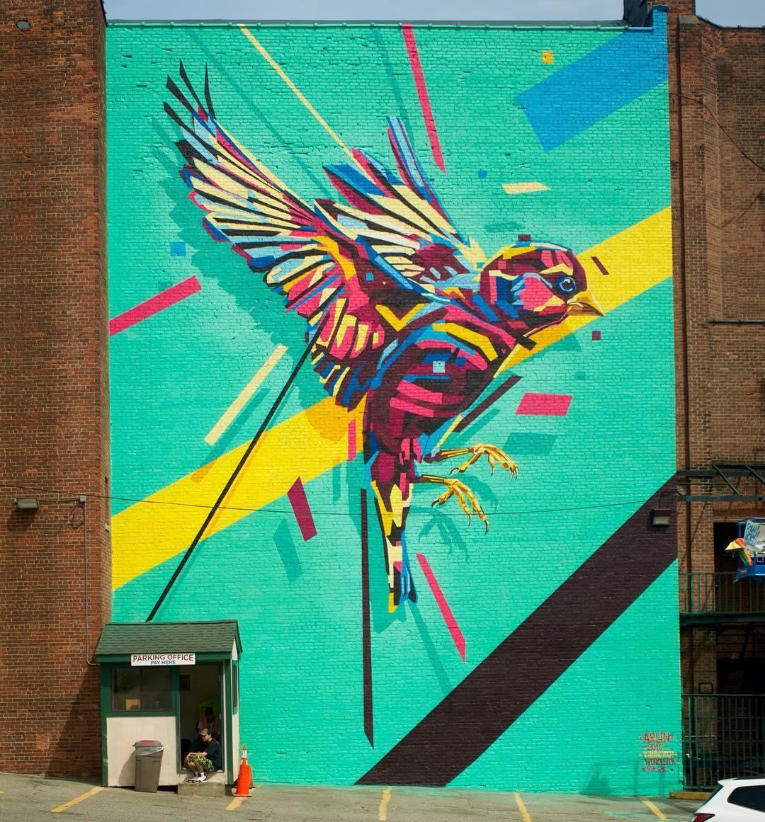 Finished mural by @arlin_graff at @powwowworcester • SprATX is proud to sponsor along side: @powwowworldwide @1xrun @monsterenergy @actionwoo @worcesterwares @worcestermagazine @thegriddistrict @homedepot @niche_hospitality @vivaelche @montanacans...