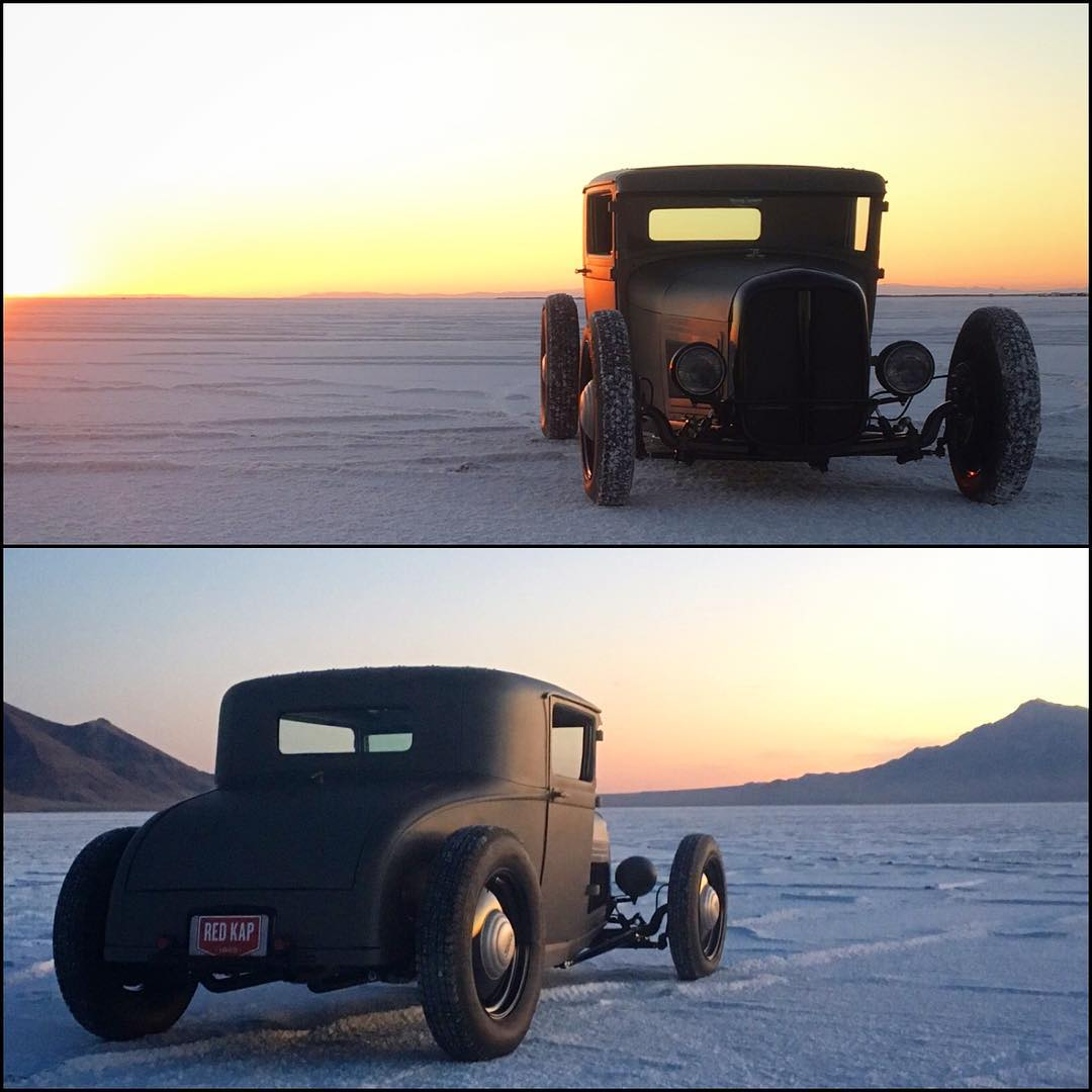 On the salt flats with @heathpinter's latest creation, this hand-crafted Ford Sport Coupe! Now it's time to race this thing at events all over the country! #hoonigan #hotrodhoonage #hotrod #sportcoupe photo by: @ianbeaudoux