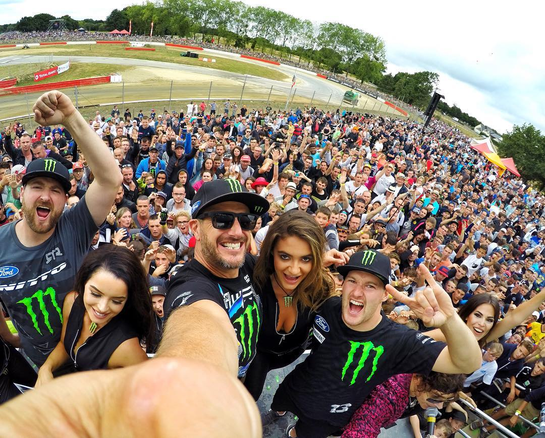 @MonsterEnergy #RigRiot selfie with my bros @VaughnGittinJr and @AndreasBakkerud. These French fans are rowdy, rain or shine! Shot with my @GoPro #Hero4. #LoheacRX #fandemonium #MonsterGirls