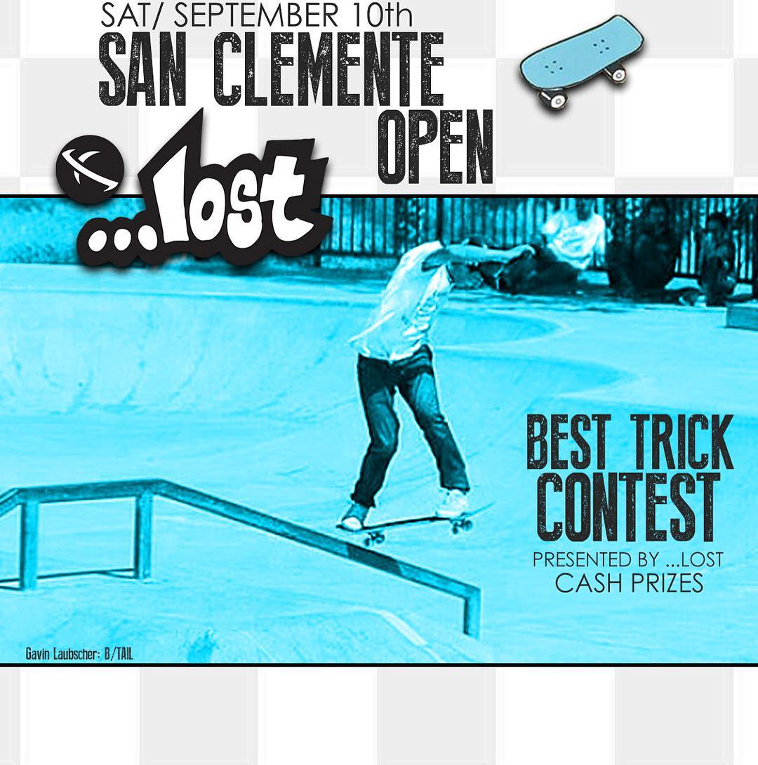 Next weekend the 16th annual San Clemente open skate contest will be going down! This year ...lost will be putting on the best trick contest with cash prizes for bangers. Saturday, Sept 10th all ages, don't miss it!! #2016sanclementeopen #skateboarding...