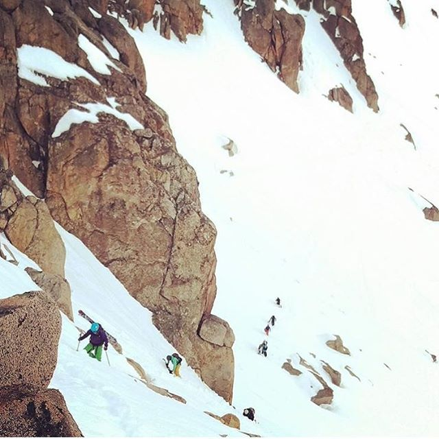 We're psyched @seasarahski had a blast with @sassglobaltravel. Here they're climbing the steeps to ski Tage Chute