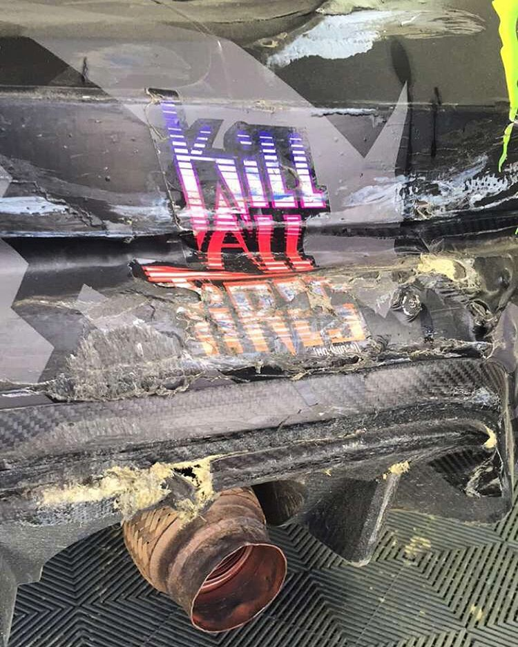 Kill All Tires. And, in rallycross, maybe some body panels too. Ha. Snap: kblock43. #killalltires #battledamage #contactsport #carbonkevlar