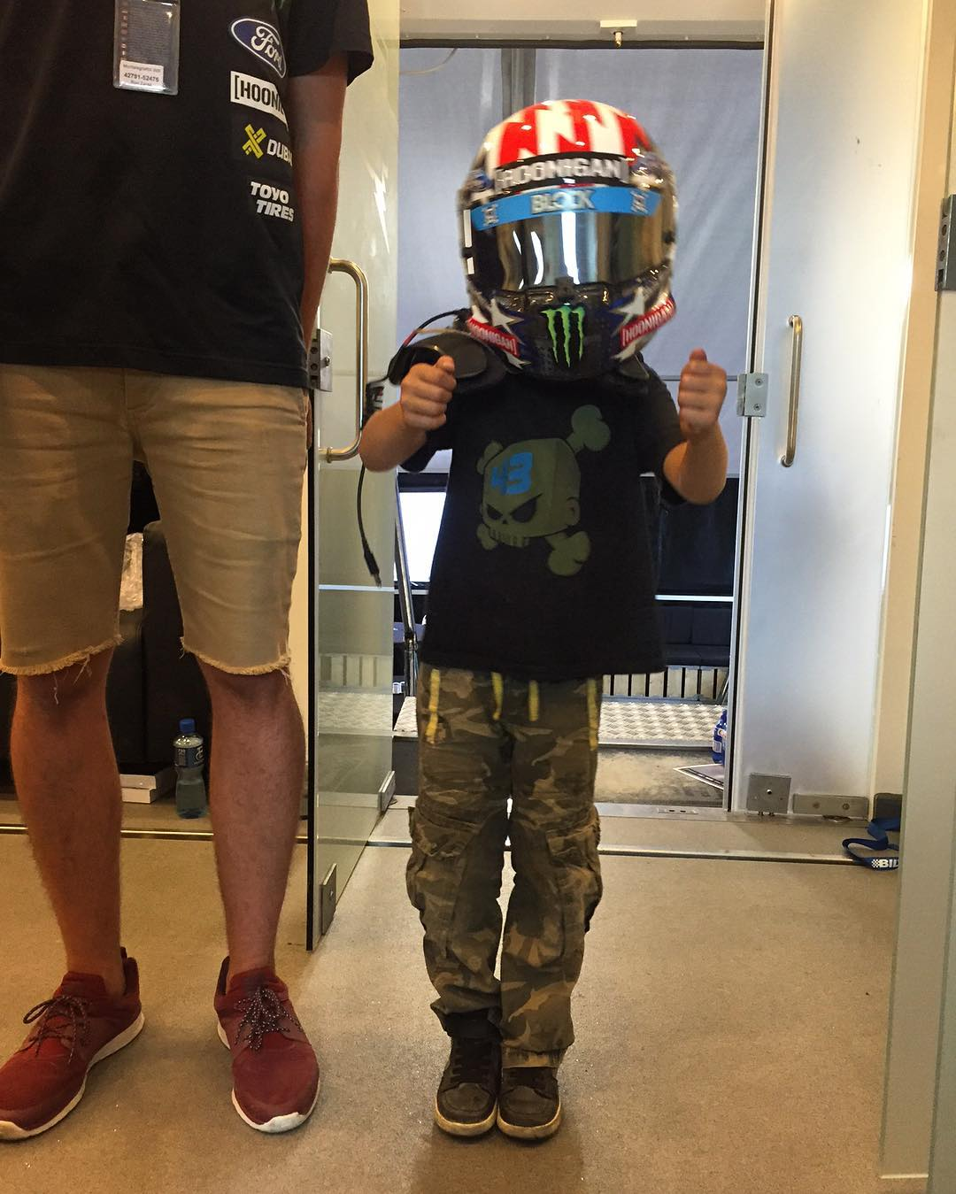 My son still has a liiiiiittle more growing to do before he can fit in my race helmet/hans device. Ha. That never stops him from trying, though. He's convinced that he's ready to race. #chipofftheblock #proudfather #racingdreams #LoheacRX