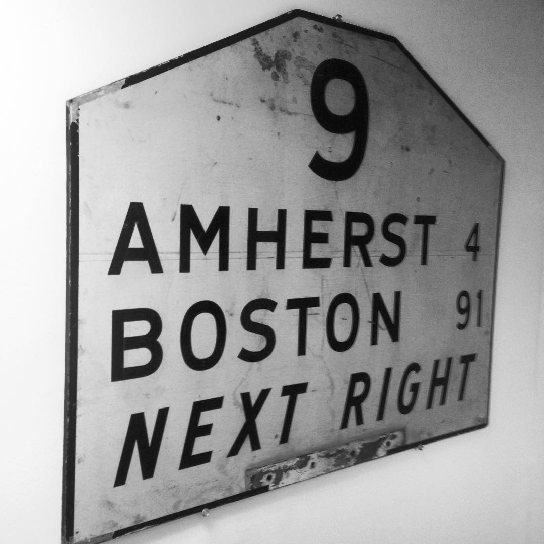 Latest pick- 1959 Route 9 painted road sign. #route9 #amherst #boston #mass #massachusetts #rt9 #roadsign #vintage #signage #typography #nextright #9