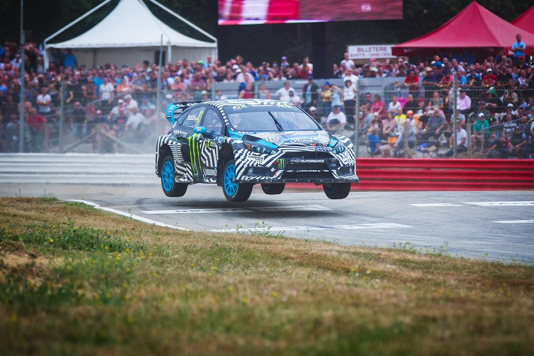 HHIC @kblock43 showing off the suspension travel in the #FocusRS RX! #worldrx
