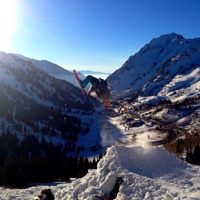Snow blade back flip #alta #littlecottonwoodcanyon #snowblades #backflip