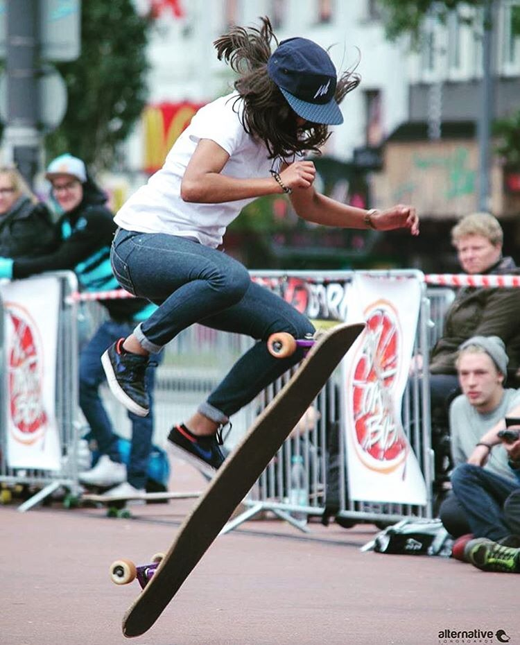 The always rad @longboardgirlscrew_nl rider @nadyadoerga during Hamburg Longboard Open in Germany. Nadya we love you!