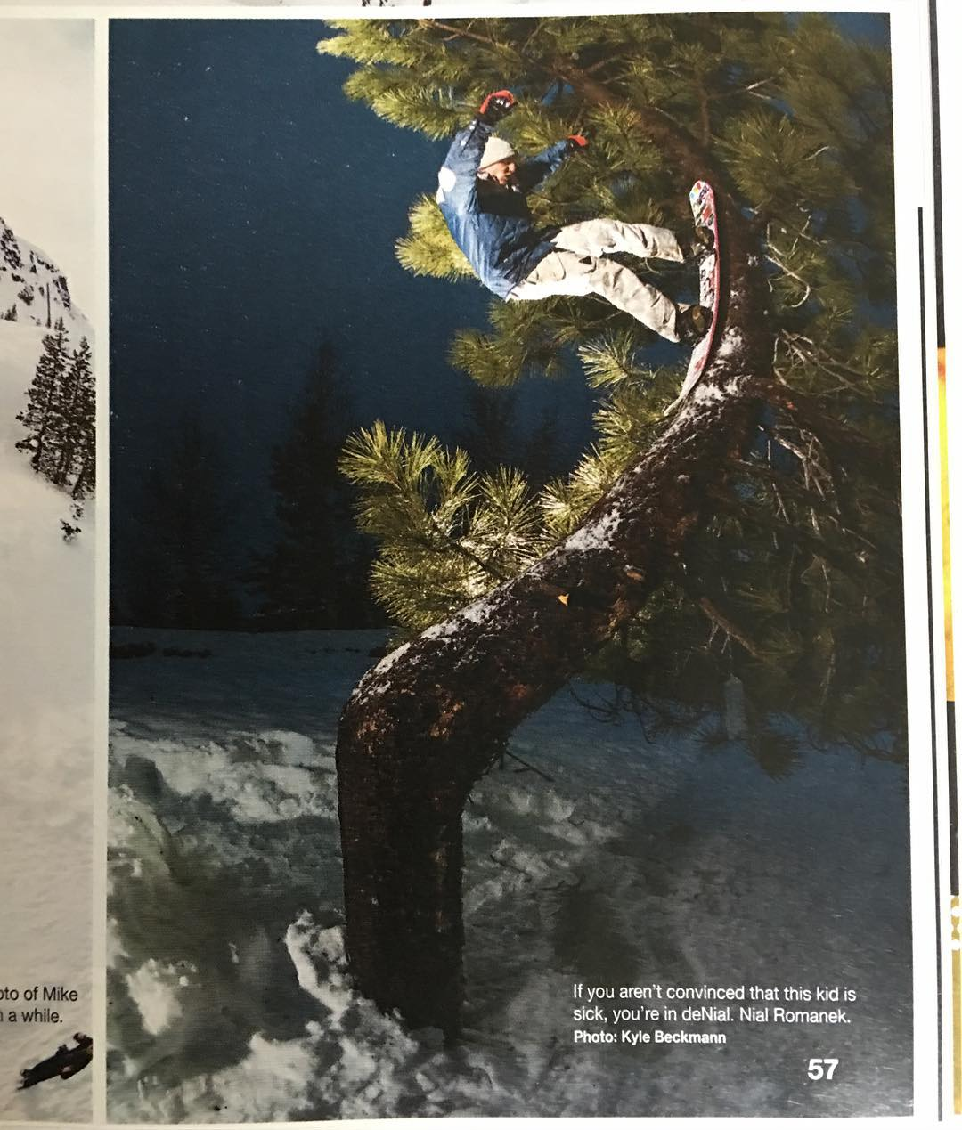 Sick shot of @nial_romanek in the first @snowboardermag , check it out.