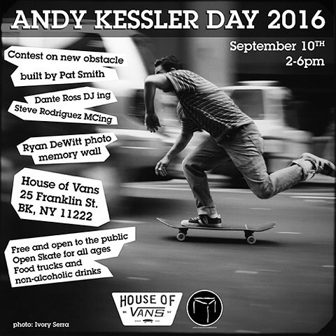 Head over to @houseofvansbk this Saturday and celebrate the wonderful lives of our dear friends, Andy Kessler & Ryan Dewitt. Hands down one of the funnest parties at #houseofvans each year. #LegendsNeverDie