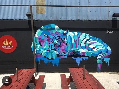 New piece by @akbernal at local brewery, @hopsandgrain✌ • #spratx #hopsandgrain #mural #tiger #lovelocal #spraypaint