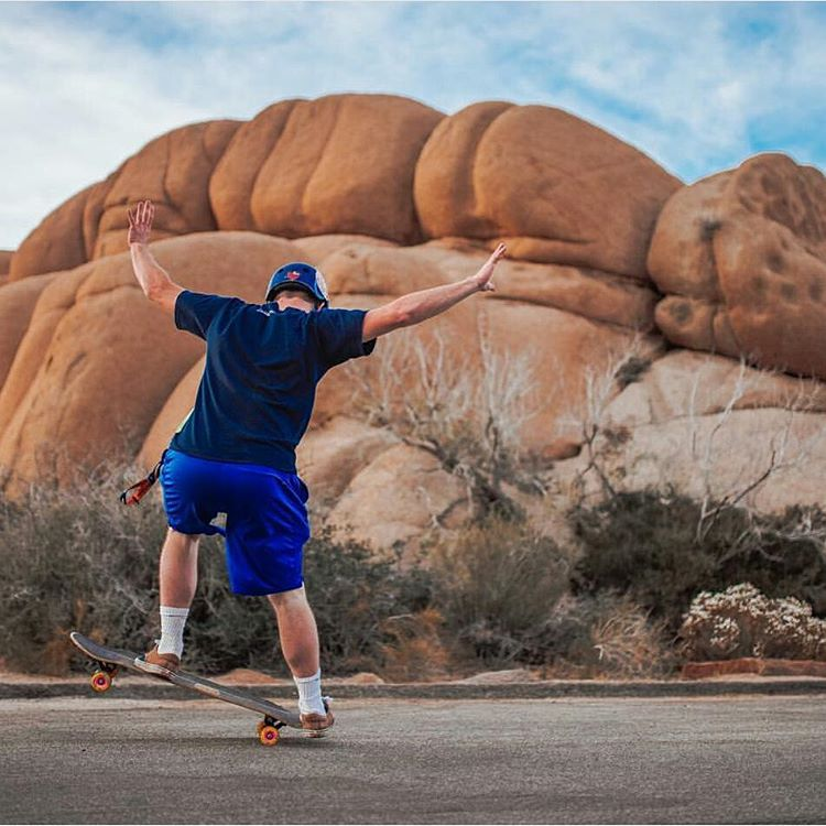 #LoadedAmbassador @alexexplore180 consults his fakie manual to help him navigate the boulder filled desert of Joshua Tree on his Loaded Overland.  Photo: @alexexplore180  #LoadedBoards #Overland #loadedoverland #Orangatang #Yellow #TheSkiffs