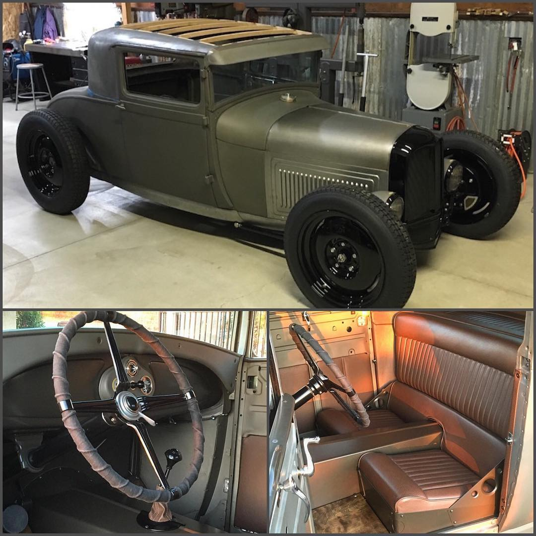 A closer look at our buddy @heathpinter's Sport Coupe! Guess what's under the bonnet. #ford #hotrod