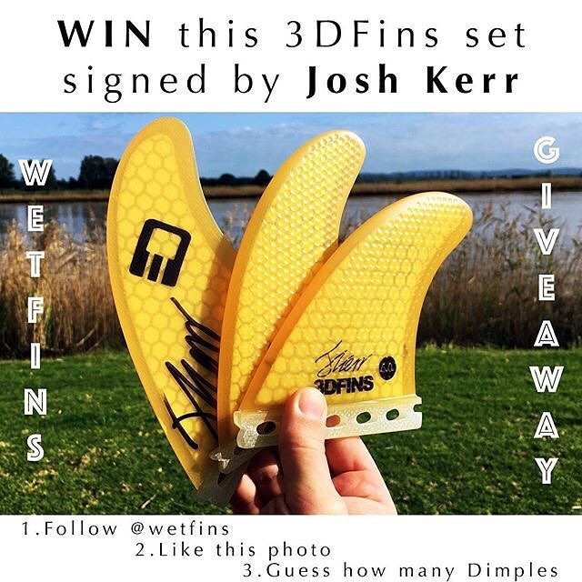 Guess how many dimples in this set of fins. . For our first Instagram giveaway, we're giving away a thruster set of Josh Kerr 3DFins signed by the man himself.....Josh Kerr!!!! Valued at $120  Here is how to enter: . 1. Follow @wetfins . 2. Like this...