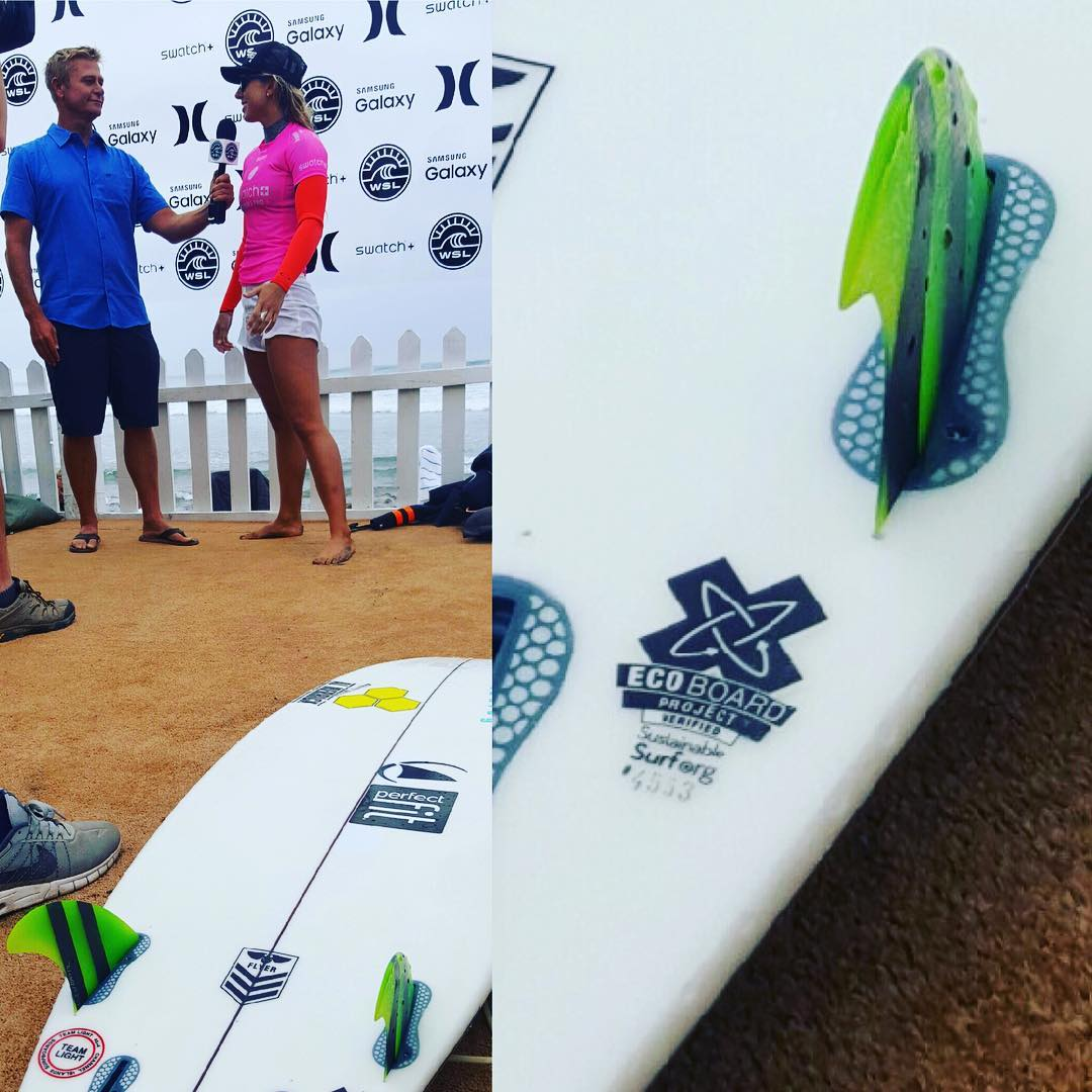 Back on the Beach at #Lowers, and the place seems #Littered with surfboards carrying our #ECOBOARDproject ❎  This @cisurfboards #flyer was just under the feet of heat #1 winner @sageerickson as she battled it out with @lakeypeterson , who got to the...