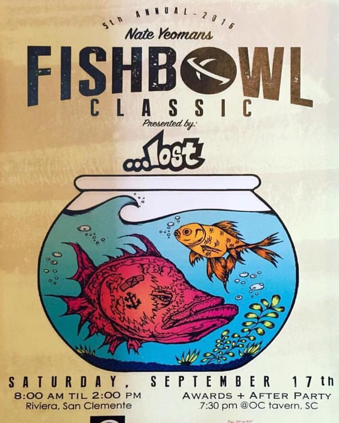 Don't miss the 5th annual @bigdeluxe_  Fishbowl Classic next Saturday September 17th at Rivieria followed by an after party at @oc_tavern at 7pm with @tunnelvisionsc @_afterschoolspecial_ and many more bands!