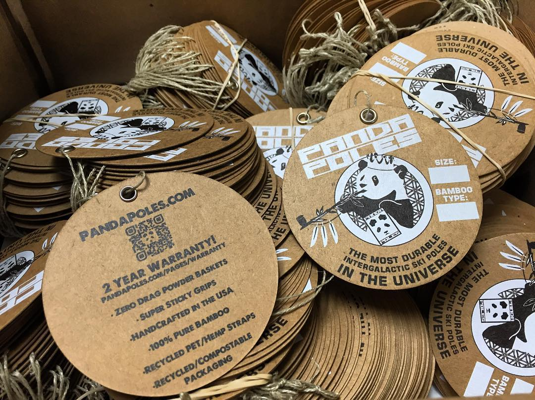 New Panda hangtags hot off the press from GreenerPrinter.com! 100% recycled kraft paperboard with hemp twine. Nothin' but the choice nugs... Coming soon to all Panda Poles distributors, worldwide!  #TribeUP @greenerprinter!  #PandaPoles #Recycled #Hemp...