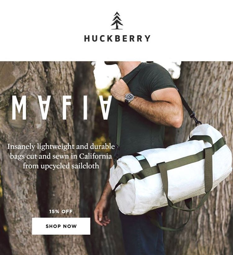 We're stoked to be part of the @huckberry community // Exclusive Offer -  Mafia Bags 15% OFF at huckberry.com // Link in bio.