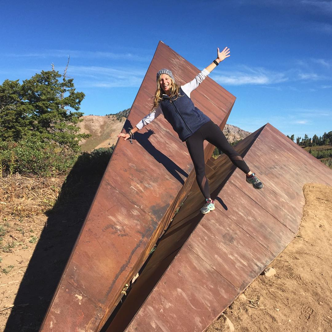 Flying high @outessasummit @powdermountain. Awesome art work on the trails - a different kind of destination hike