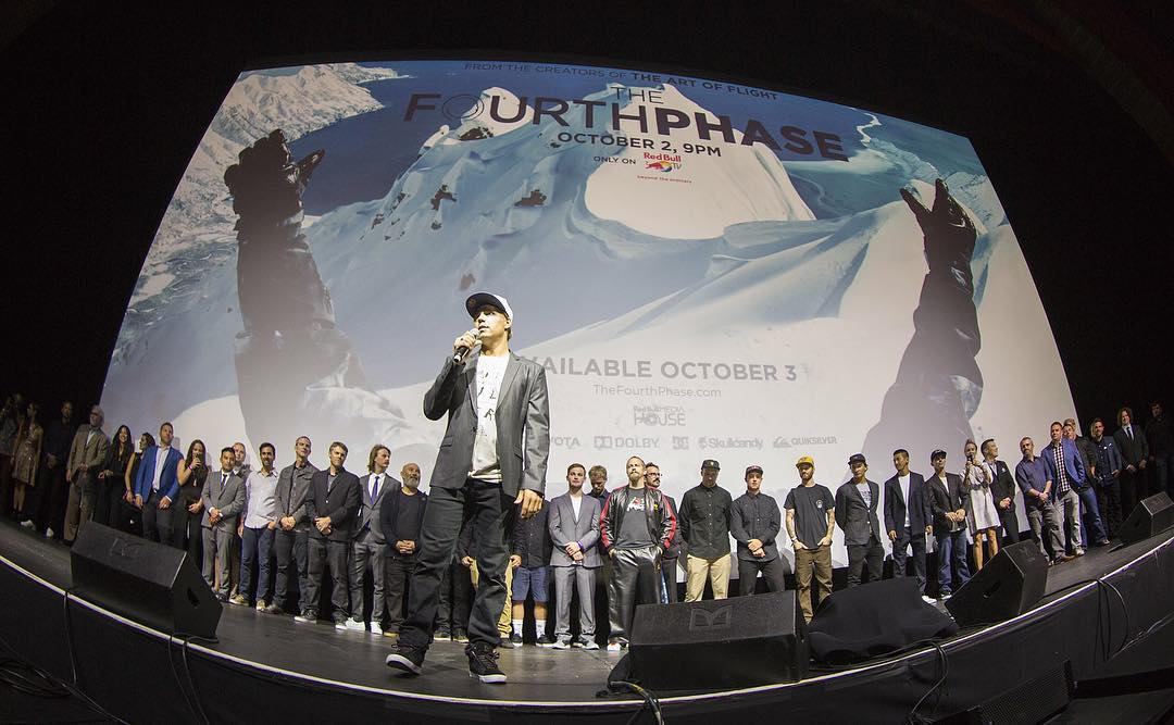 @travisrice with the cast and crew of #TheFourthPhase at last night's world premiere in Los Angeles, CA. Epic night, epic film. Photo: @colinyoungwolff. @dc_snowboarding @rbmhfilms #dcshoes #dcsnowboarding