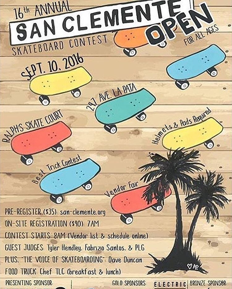 San Clemente Open skate contest is going on right now! Come support the local groms and check out the ...lost best trick contest for cash prizes! #skateboard #scopen2016