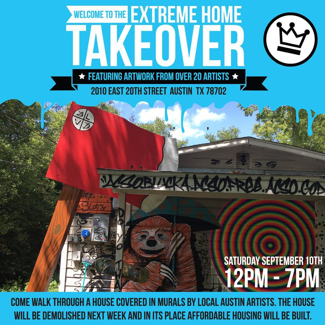 TODAY ONLY.. 12pm you will have a chance to view an entire Austin Eastside house filled inside and out with streetart & installations.. Address is in the pic☝
