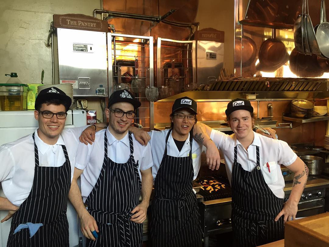 The @lepigeonpdx kitchen staff sporting some hats from our #FW16 collection. #coalheadwear #pdx #BurnoutCap #PalmerCap