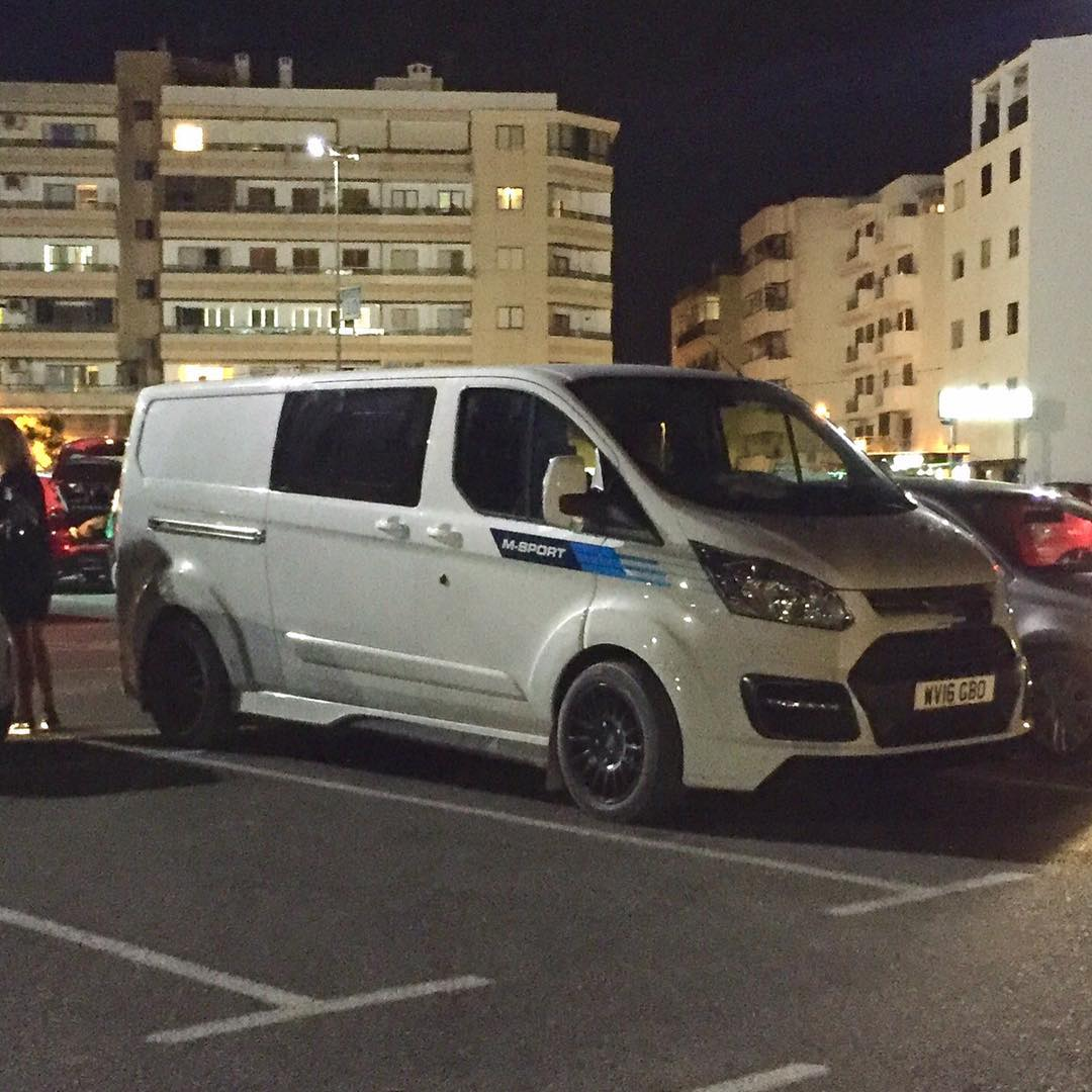Rad to see this lurking in a parking lot tonight in Ibiza: an M-Sport Ford Transit van! So good. Can't wait till I have one of my signature versions! #streetspotted #FordTransit