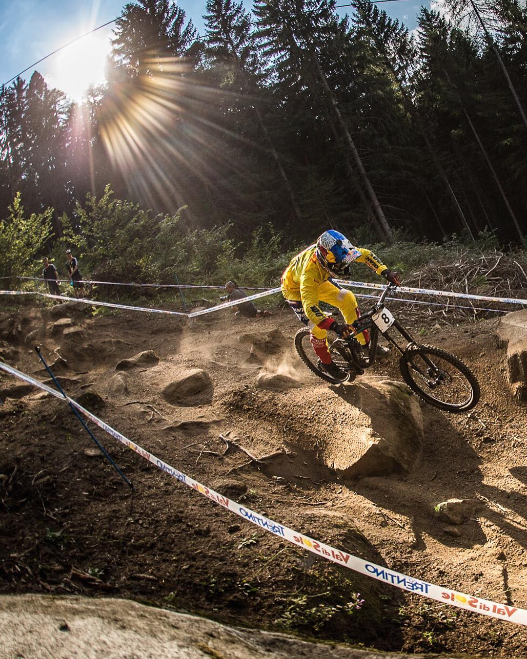 Tune in today to @redbulltv to see the UCI Downhill World Championships Live from Val Di Sole.