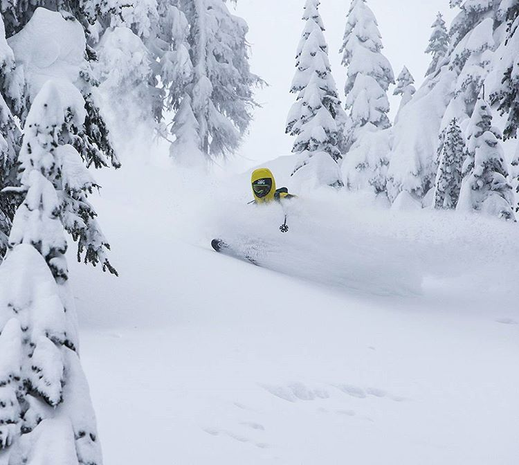 The storm delivered. Piers Solomon wasting little time on his go-to Spoons in the Monashees, British Columbia. Follow the link in our bio to learn more about the innovative, deep powder specialty Spoon skis. Photo @oskar_enander