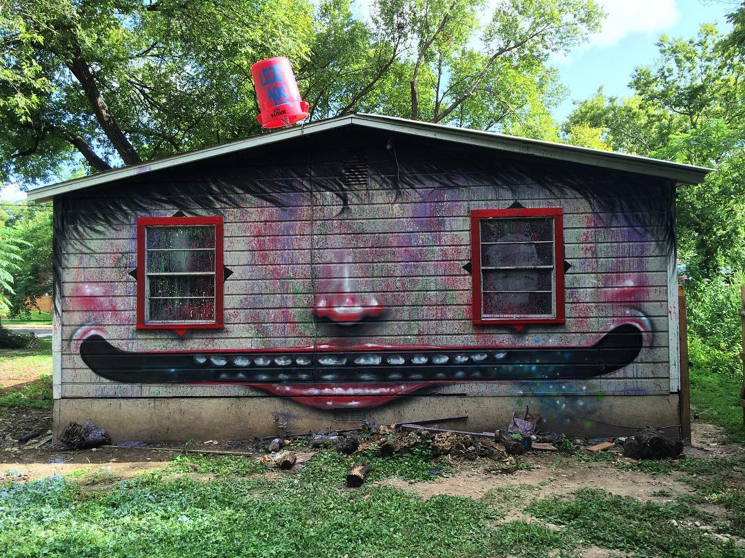 @lucasaokiart for #extremehometakeover • • 20+ Local ATX artists covered an entire Eastside home inside & out, top to bottom! • • #hyperlocal #art #spratx #texas #austintx #tx #community #graffiti #grafite #streetart #mural