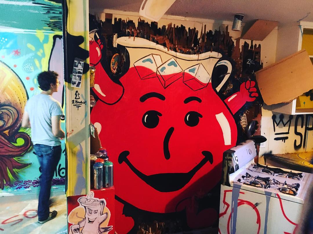 Oh Yeah! You can't stop Kool-Aid man from crashing the house party! Big ups to @zielart for bringing big smiles #extremehometakeover • • 20+ Local ATX artists covered an entire Eastside home inside & out, top to bottom! • • #hyperlocal #art #spratx...