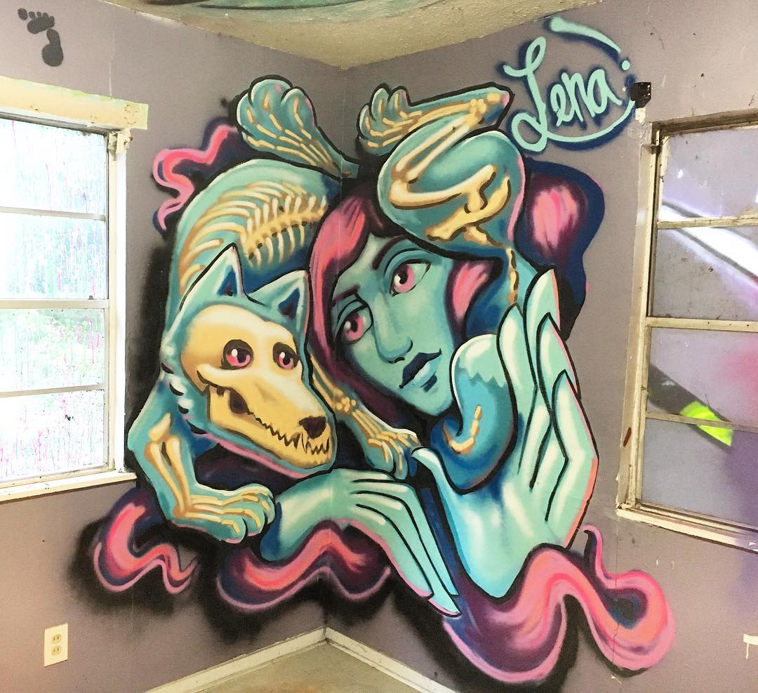@lenatx for #extremehometakeover • • 20+ Local ATX artists covered an entire Eastside home inside & out, top to bottom! • • #hyperlocal #art #spratx #texas #austintx #tx #community #graffiti #grafite #streetart #mural