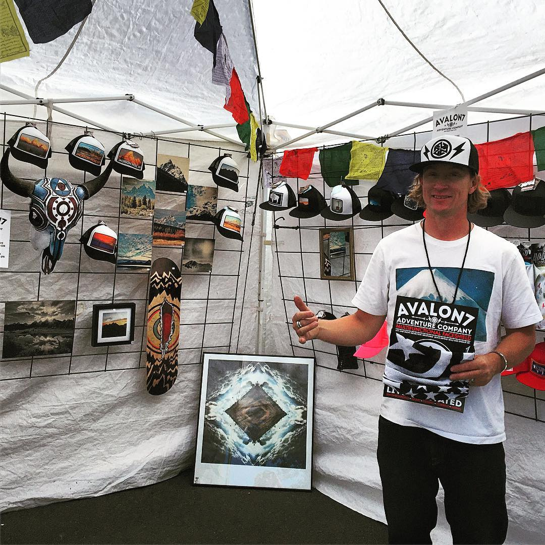@robkingwill on the #hustleandflow program at the Locals Only Artfair in Jackson Hole today. Thanks for everyone who came out and bought some new A7 gear, the booth was packed all day! #avalon7 #liveactivated