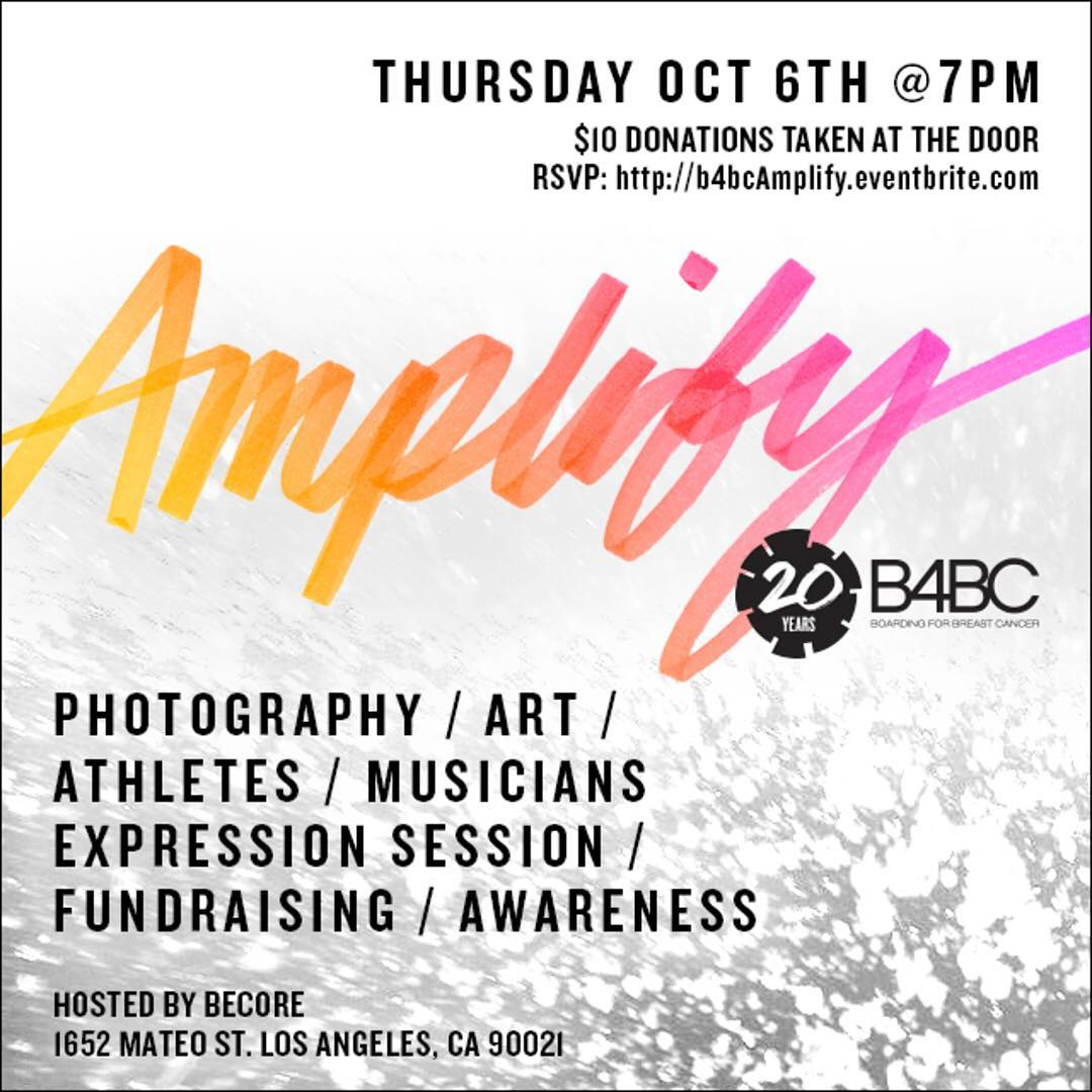 IN CASE YOU MISSED IT... You're Invited to Amplify: B4BC's 20th Anniversary Celebration at @becore on Thursday, October 6th!  PHOTOGRAPHY+ART+ATHLETES+MUSICIANS+EXPRESSION SESSION+FUNDRAISING+AWARENESS  Click the link in our bio to RSVP today!