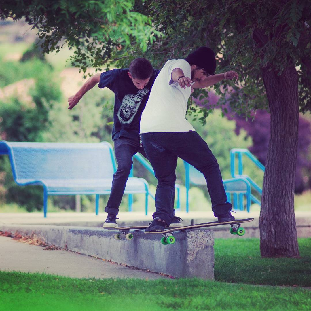 The brothers @deadbear13 and @dipsybogart double up on a board slide using their Diet Fatty!