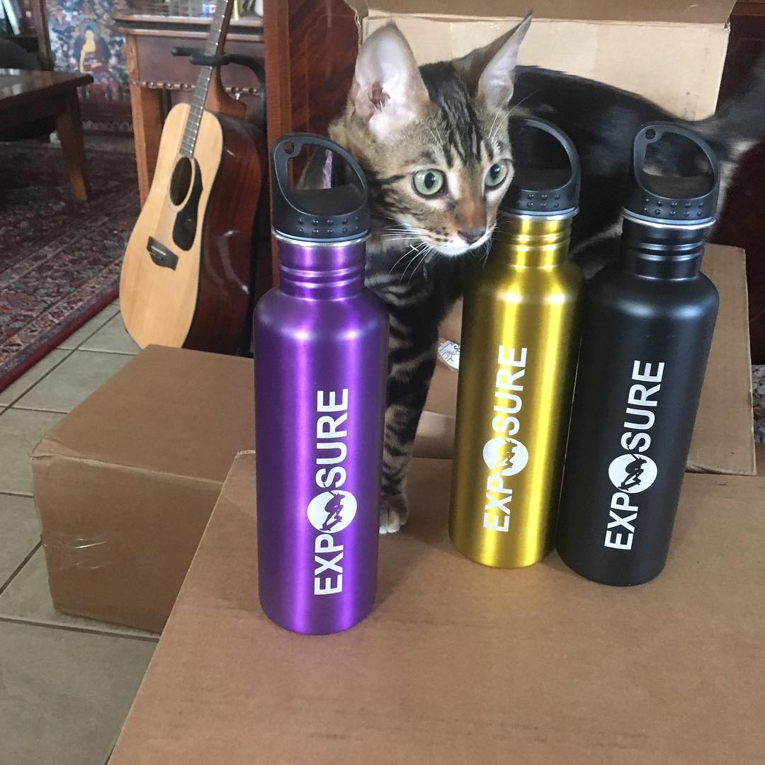 #exposure2016 is taking steps to help the environment by banning single-use plastic water bottles and providing these to all of the skaters. Make sure you bring a reusable BPA-free water bottle to refill at our @ecowatersd stations! *bengal kitten not...