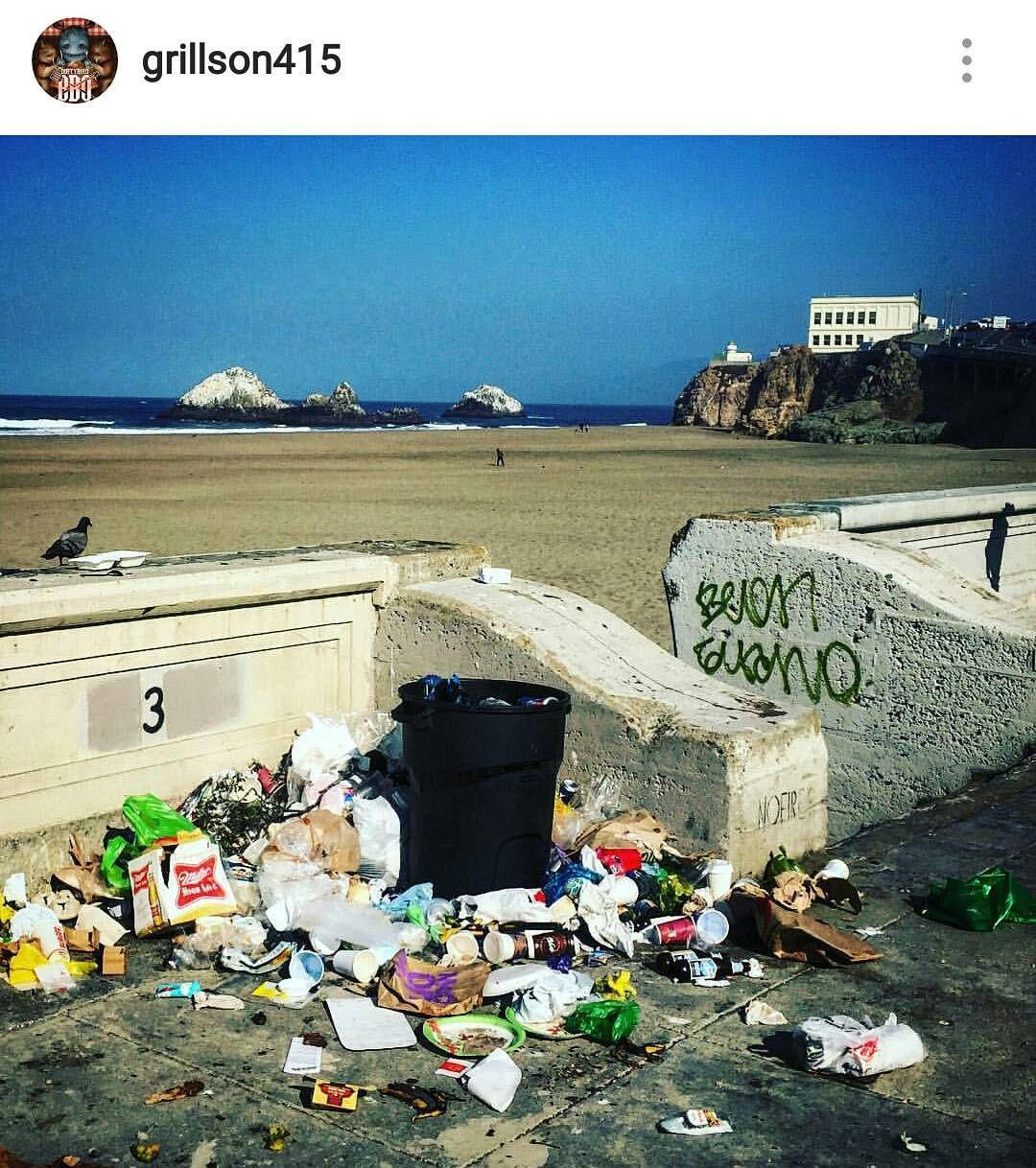 "@goldengatenps it's time to come up with a solution to the unacceptable trash issue at Ocean Beach. It's clear that this ""pilot"" program isn't working when someone brings a trash can to the beach. #endthisnow so we can have a #wastefreeOB for everyone..."