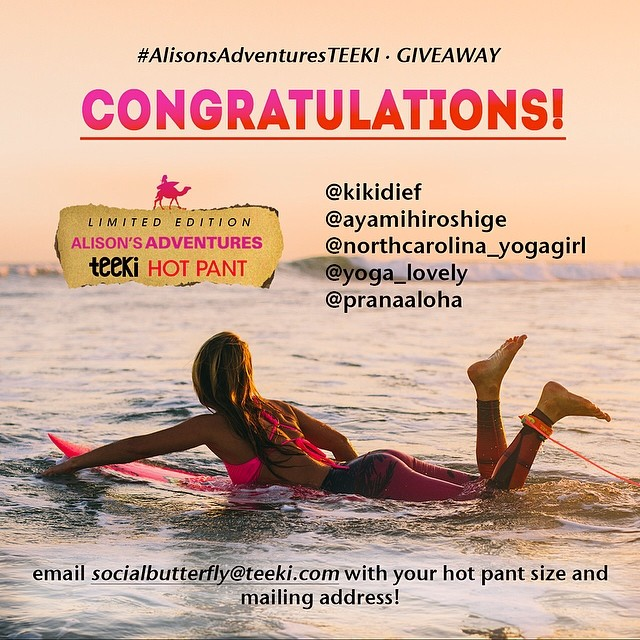 "Aloha and congrats to the 5 winners of the #alisonsadventuresteeki giveaway!!! @kikidief @ayamihiroshige @northcarolina_yogagirl @yoga_lovely @pranaaloha  Can't wait to see you post a pic in your new ""Love The Adventure"" hot pant! Make sure you tag..."