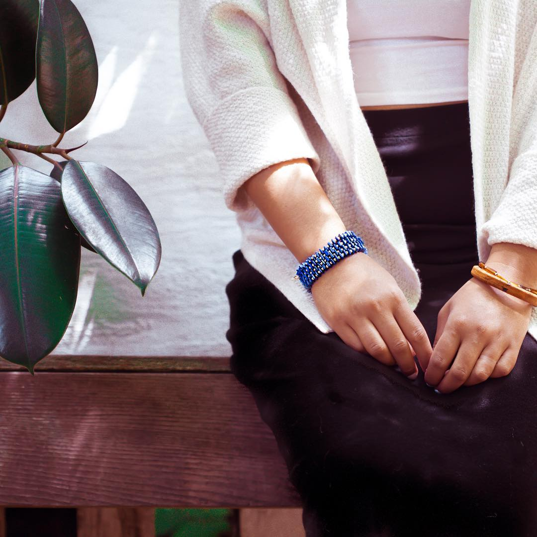 Perch perfect. Lapis and Cork Bracelets.  #balihai #leathernecklace #coppernecklace #juliaszendrei #balihai #tikitime #lapis #cork #anchorbracelet #lapisnecklace #gemlove #gemstones