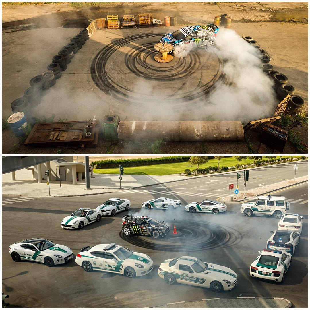 "We went from the world's most expensive donut box in Gymkhana EIGHT (surrounded by exotic cars), to the most… 'industrial"" donut box ever in #GymkhanaNINE. Still risky when there are old cabinets, tires, train parts, and construction equipment..."