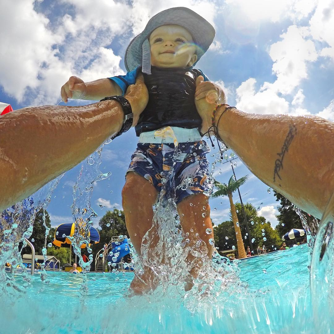 Family fun at the pool! Capture hands-free shots like this with GoPole Chomps. #gopro #gopole #gopolechomps #summer #pool
