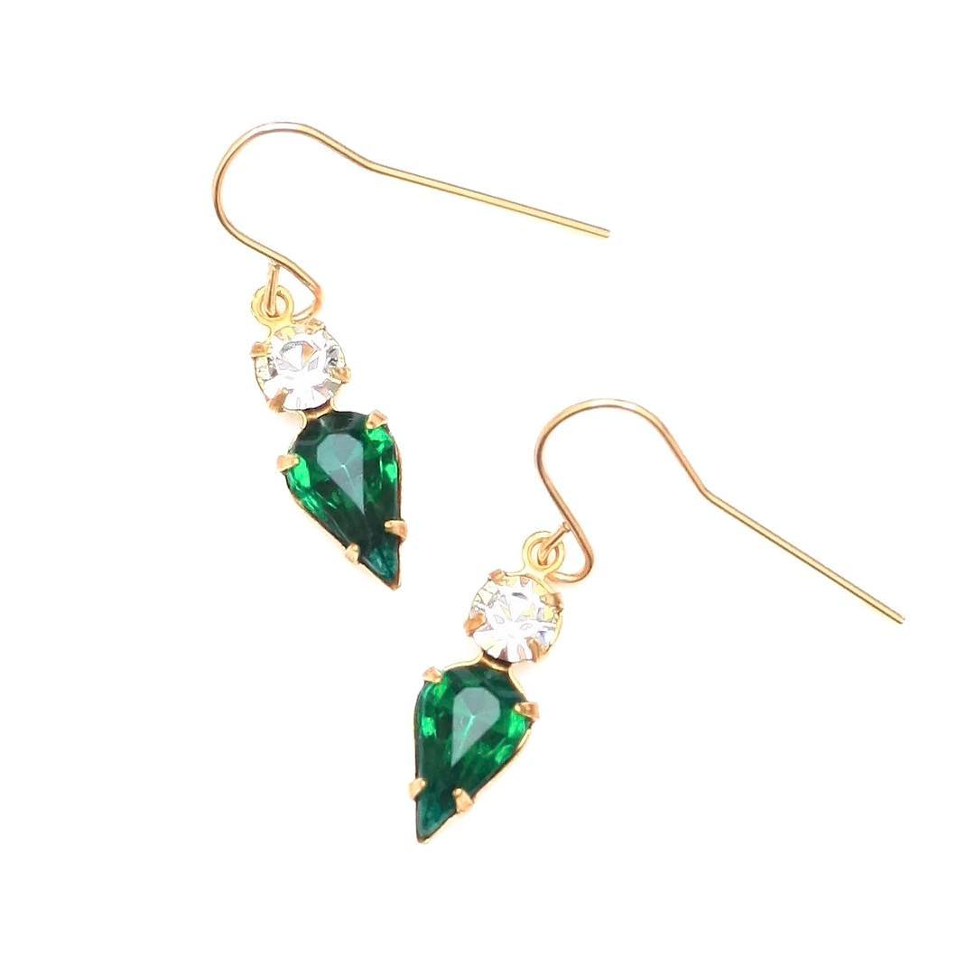 Tuscany Vintage Glass set in Gold.  Love #emerald #green earrings for #fallstyle  Visit www.JuliaSzendrei.com for more looks into #Fall!  #gemlove #gemlove #lapisnecklace #emeraldgreen #greendiamond #diamonds #14k #finejewelry #gemstones #pantone...