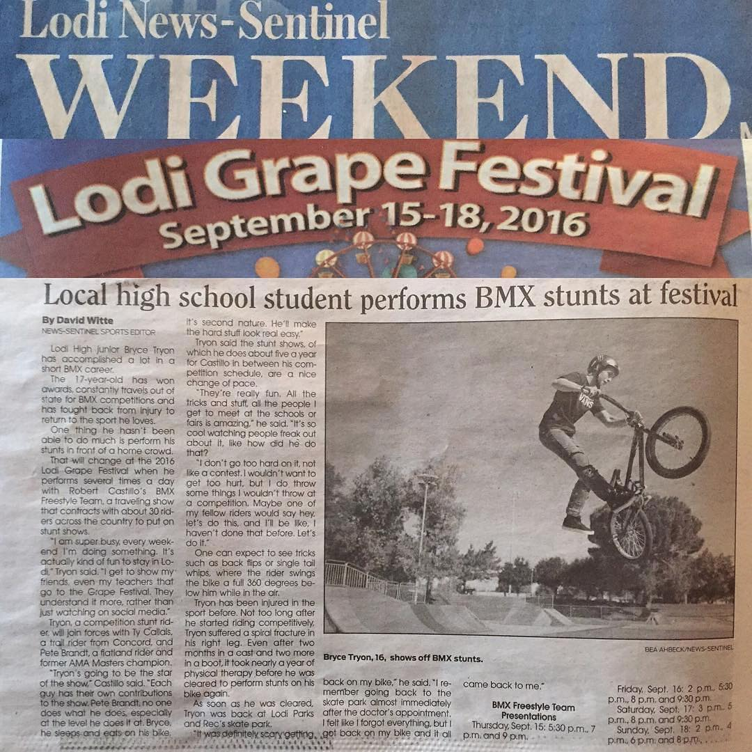The Lodi Grape Festival kicks off tomorrow, and our very own @tryonbmx will be there performing on his bike this weekend! #lodinews #grapefestival